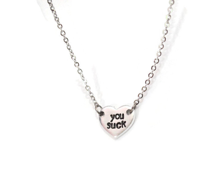 you suck tiny or small heart necklace on stainless steel chain hypoallergenic