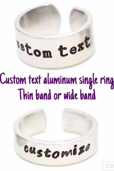 Personalized Custom Text Aluminum Adjustable Aluminum Ring // Hand Metal Stamped gift for gamer geek nerd geekery you pick the phrase