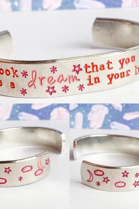 Bookish Reading Quote Aluminum Cuff Bracelet 1/2 inch // metal stamped geekery