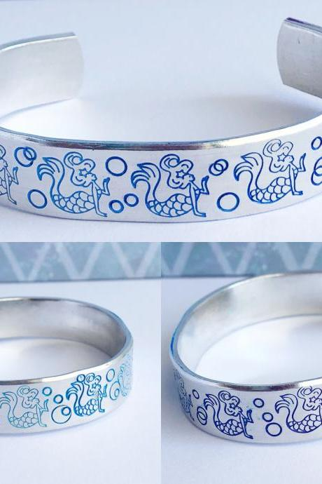 Mermaid Metal Stamped Aluminum Cuff Bracelet