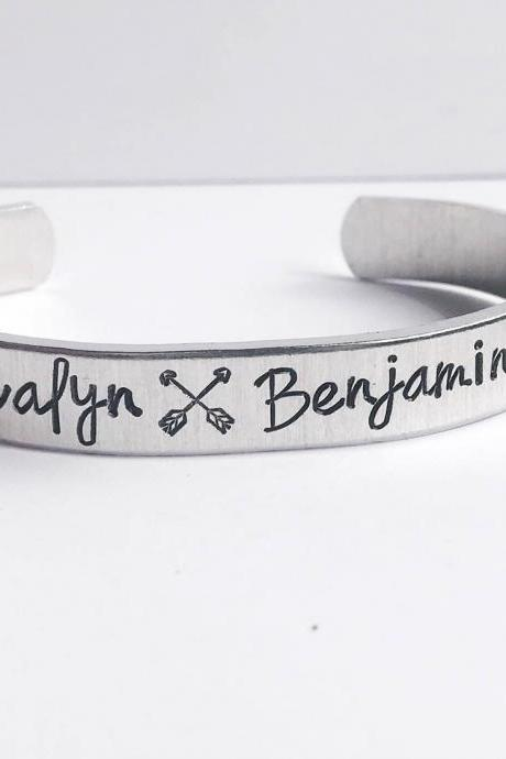 Personalized text custom name cuff aluminum // mommy bracelet mothers day gift for wife girlfriend