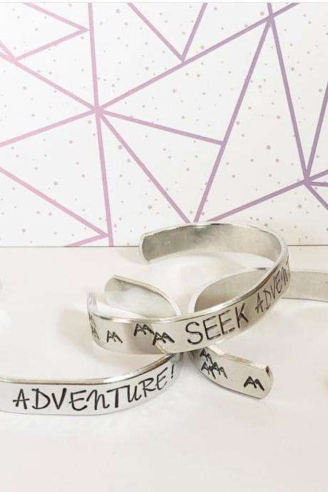 Seek Adventure Black or Colorful Text metal stamped hand stamped aluminum cuff bracelet