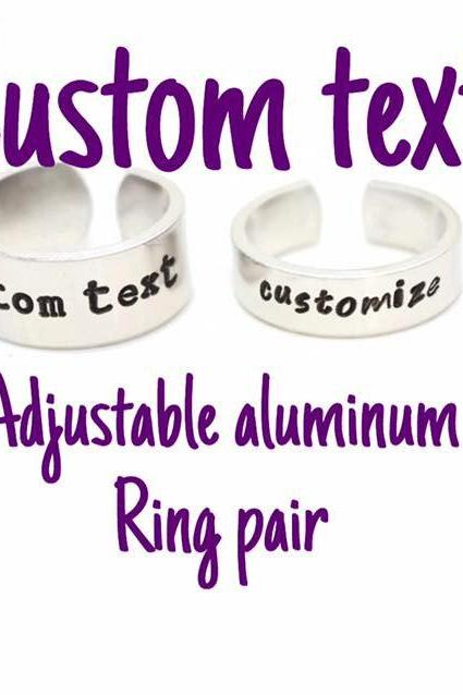 Custom Text Aluminum Adjustable Metal Stamped Ring // gift for gamer couple geek nerd geekery you pick the phrase
