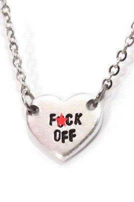 f*ck off tiny or small heart necklace on stainless steel chain hypoallergenic