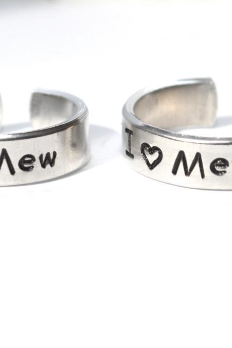 I heart mew and mew two adjustable aluminum metal stamped ring pair ready to ship .