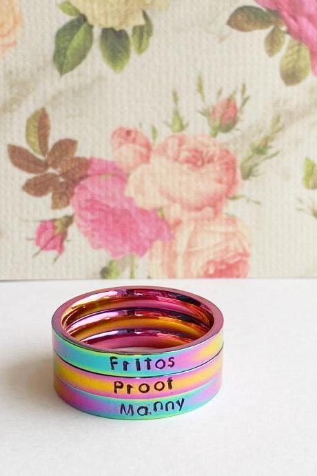 Rainbow Stainless Steel Ring With Custom Text // Hypoallergenic Rust Proof Tarnish Proof Name Ring