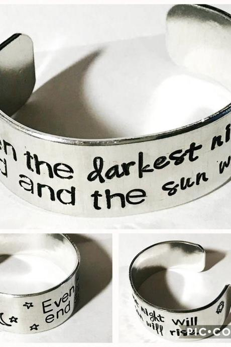 Custom quote multi font 3/4 inch personalized aluminum cuff bracelet