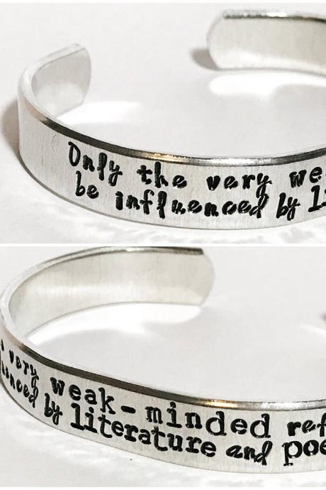 Custom quote multi font 3/8 inch personalized aluminum cuff bracelet