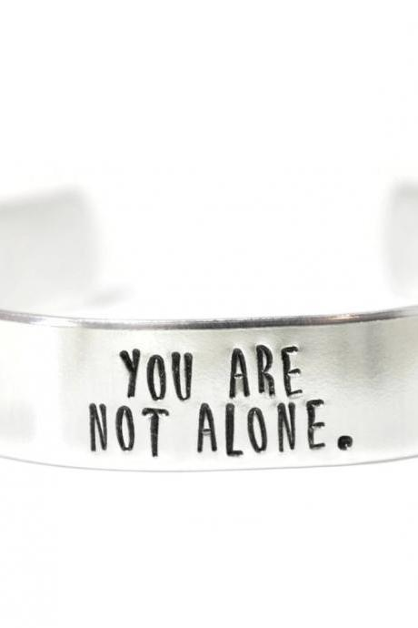 You are not alone semi colon semicolon half inch aluminum cuff bracelet // hypoallergenic rust proof tarnish proof