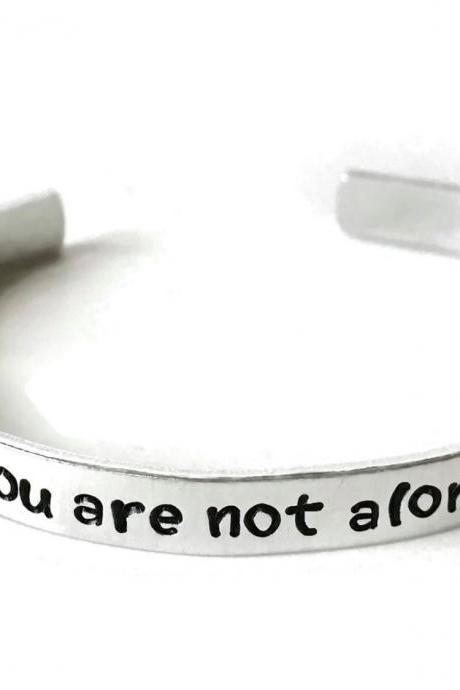 you are not alone metal stamped aluminum cuff bracelet // depression metal health awareness gift semi colon semicolon