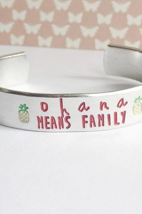 Ohana Aluminum Metal Stamped Cuff Bracelet 1/2 inch // hypoallergenic rust proof and tarnish proof