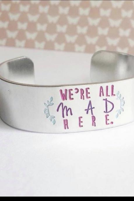 COLOR TEXT mad book quote 3/4 inch aluminum metal stamped cuff bracelet // hypoallergenic rust proof and tarnish proof