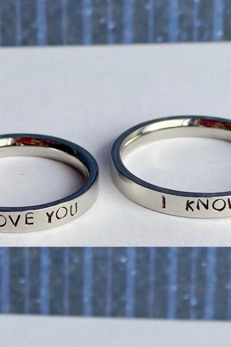 Custom Stainless Steel Ring Pair // Hypoallergenic Rust Proof Tarnish Proof Couple Name Ring